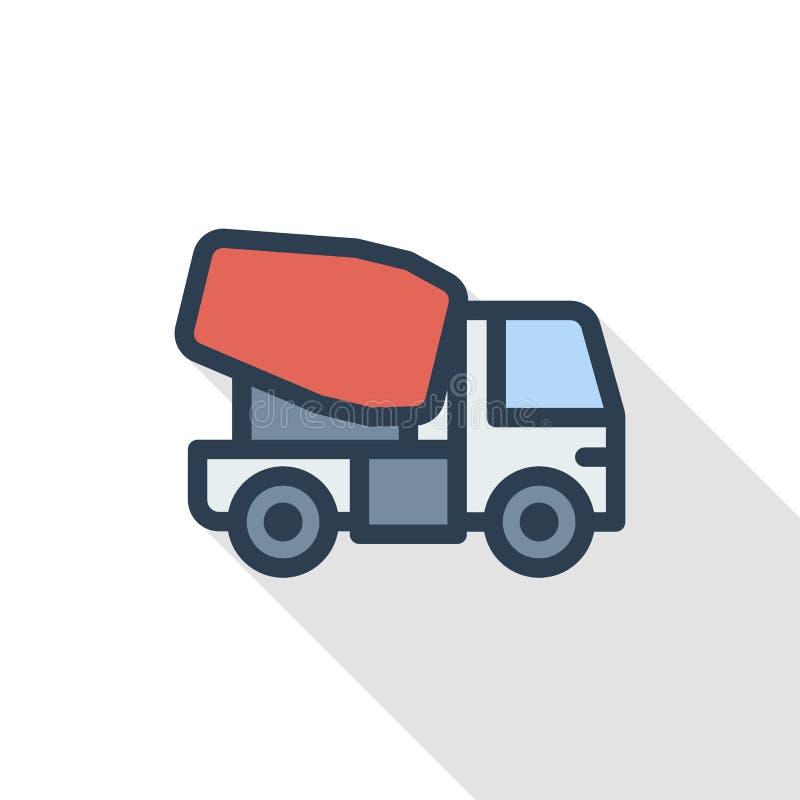 Betonowa miesza ciężarówka koloru cienka kreskowa płaska ikona Liniowy wektorowy symbol Kolorowy długi cienia projekt royalty ilustracja