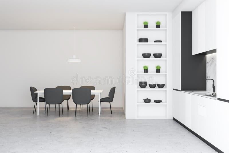 Betonowa podłogowa biała kuchnia z stołem ilustracji