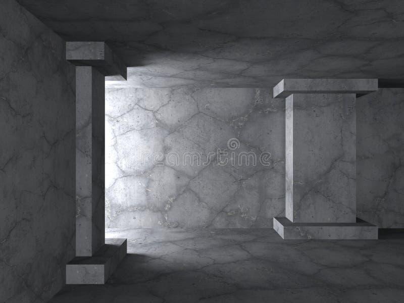 Betonowego abstrakta pusty izbowy wnętrze niebieski tła architekturę kompasowy głębokie rysunek ilustracji