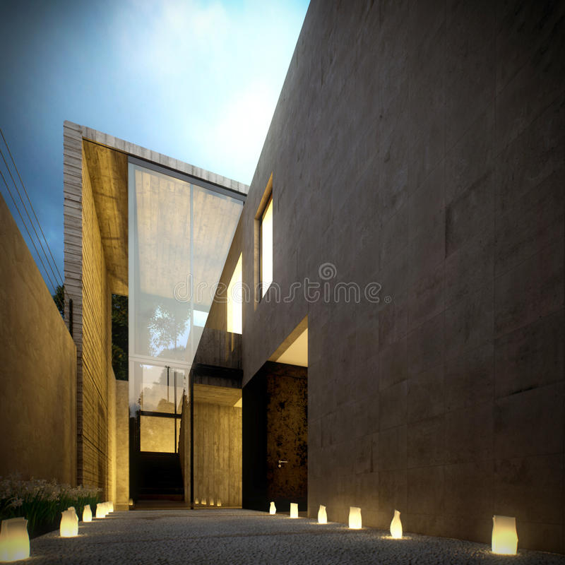 betonowego półmroku minimalistyczna nowożytna willa royalty ilustracja