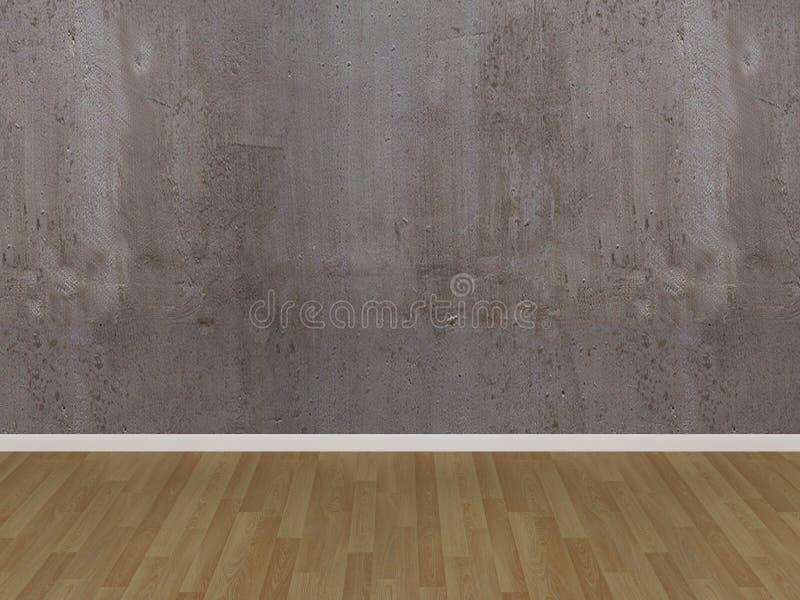 Betonowej ściany i drewna podłoga w pustym pokoju ilustracji