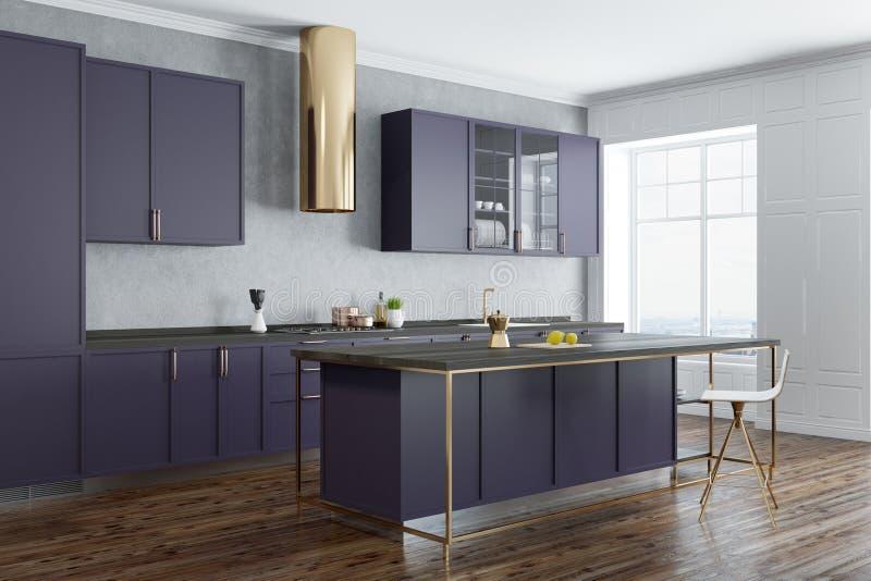 Betonowej ściany kuchni kąt, purpurowi countertops ilustracji