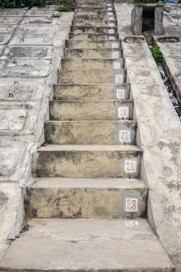 Betonowi schodki z sekwencj liczbami zdjęcie stock