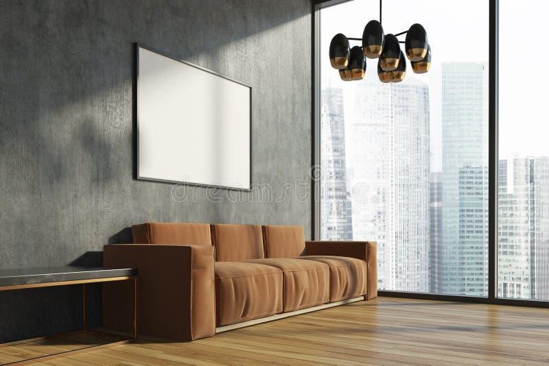 Betonowy żywy pokój, brown kanapa, plakat ilustracja wektor