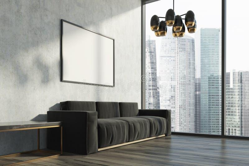 Betonowy żywy pokój, czarna kanapa, plakat ilustracji