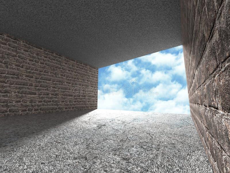 Betonowy architektury tło Minimalistic pusty pokój z chmurnym niebem royalty ilustracja