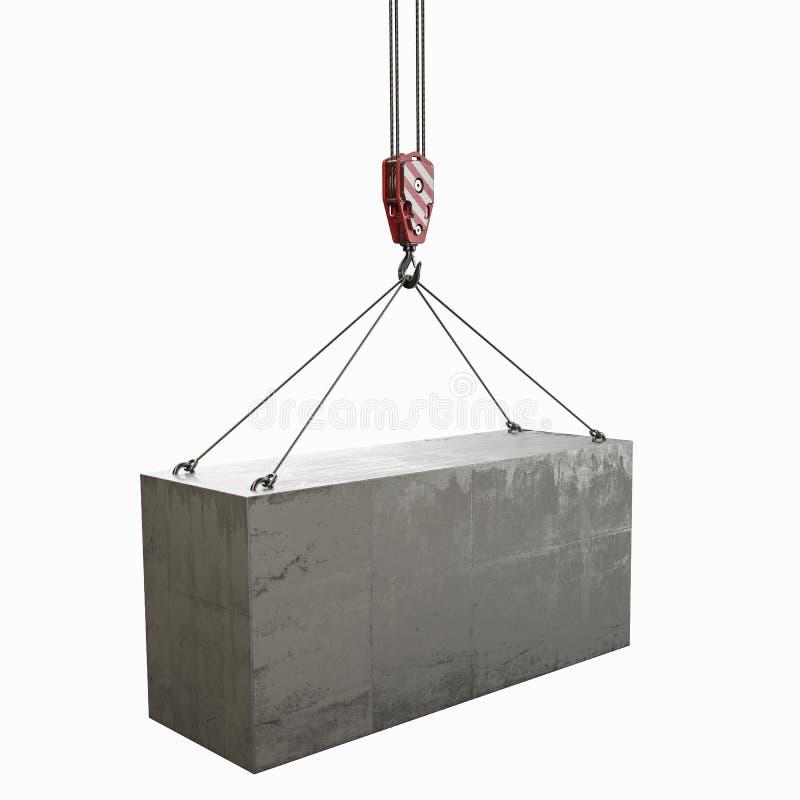 Betonowy element i dźwigowy haczyk fotografia stock