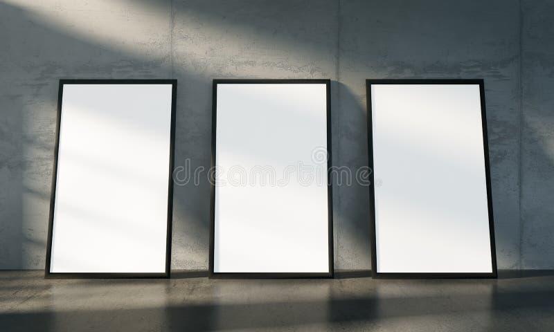 Betonowy galeria pokój, trzy odizolowywa plakata egzamin próbnego up ilustracji