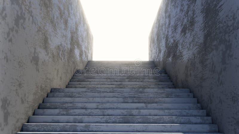 Betonowy schody prowadzi do brught dnia światła royalty ilustracja