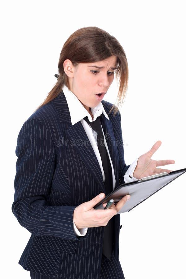 Betonte Geschäftsfrau getrennt auf Weiß lizenzfreies stockbild