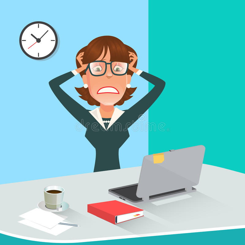 Betonte Geschäftsfrau im Büro-Arbeitsplatz mit Computer lizenzfreie abbildung