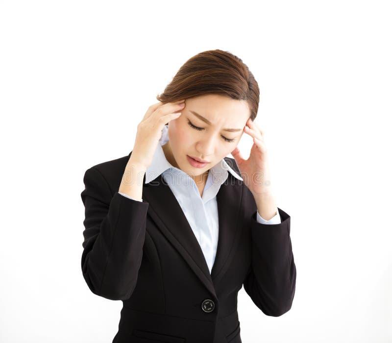 Betonte heraus Geschäftsfrau mit Kopfschmerzen lizenzfreie stockfotos