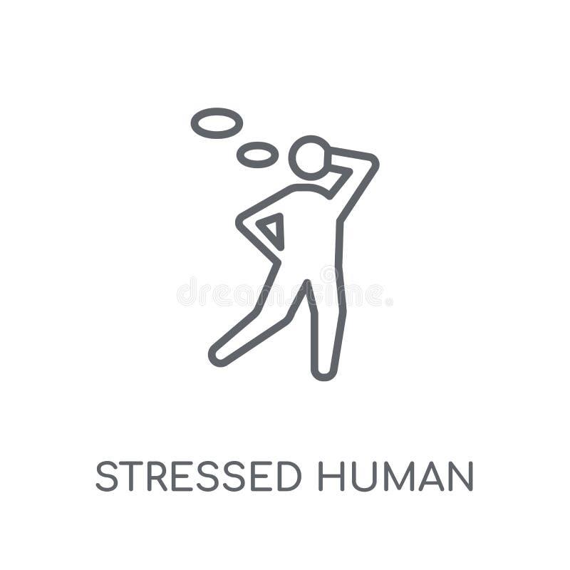 betonte menschliche lineare Ikone Moderner Entwurf betonte menschliches Logo c stock abbildung