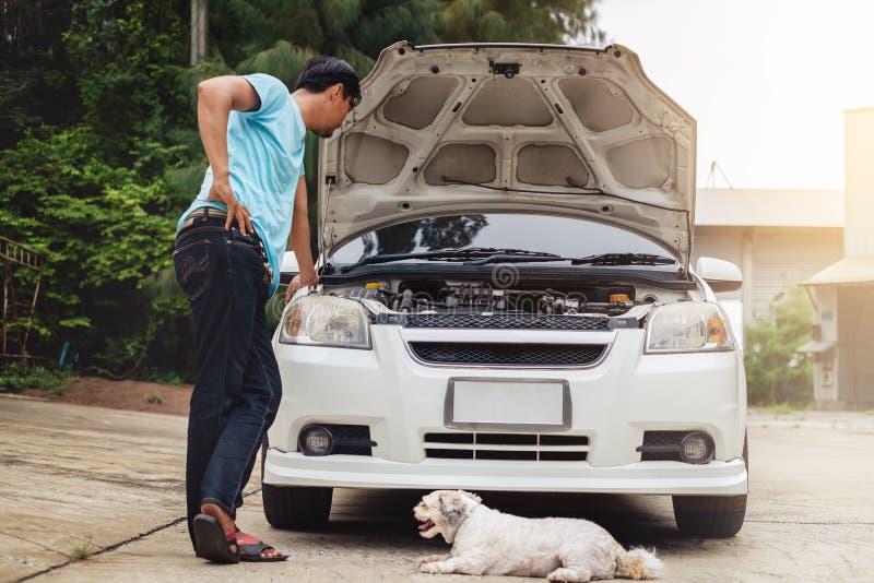 Betonter asiatischer Mann, der die Maschine des defekten Autos mit Hund betrachtet lizenzfreies stockfoto