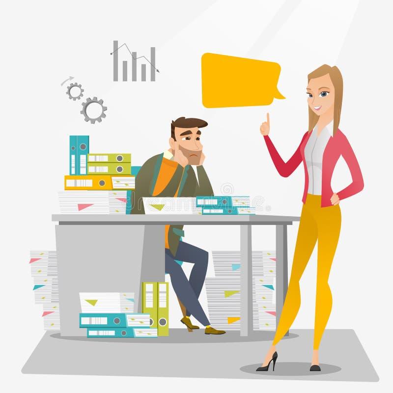 Betonter Büroangestellter und sein Arbeitgeber lizenzfreie abbildung