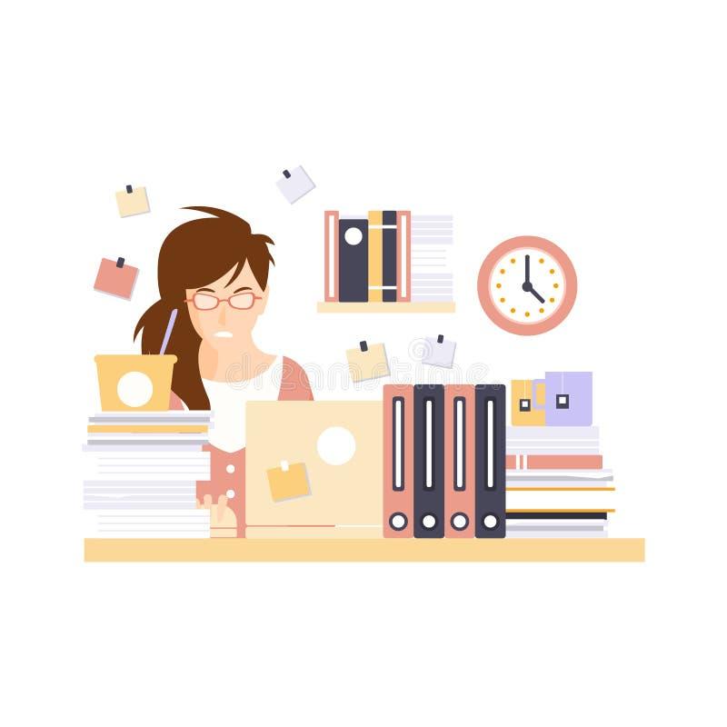 Betonter Frauen-Büroangestellter in der Büro-Zelle, die ihre tägliche Routinesituations-Zeichentrickfilm-Figur hat stock abbildung