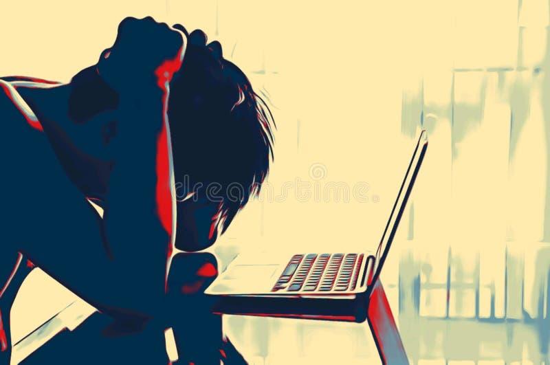 Betonter Mann am Schreibtisch im Innenministerium mit Laptop in einem Farbenskizzen-Artkonzept der roten schwarzen Farbe des Tone lizenzfreie stockbilder