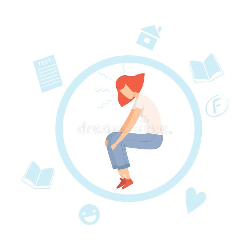 Betontes jugendlich Mädchen, Jugendlicher unter Druck überwältigt durch Informationen und Problem-Vektor-Illustration vektor abbildung