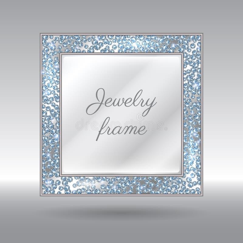 Betoverend Kader met Fonkelende Verspreide Diamanten royalty-vrije illustratie