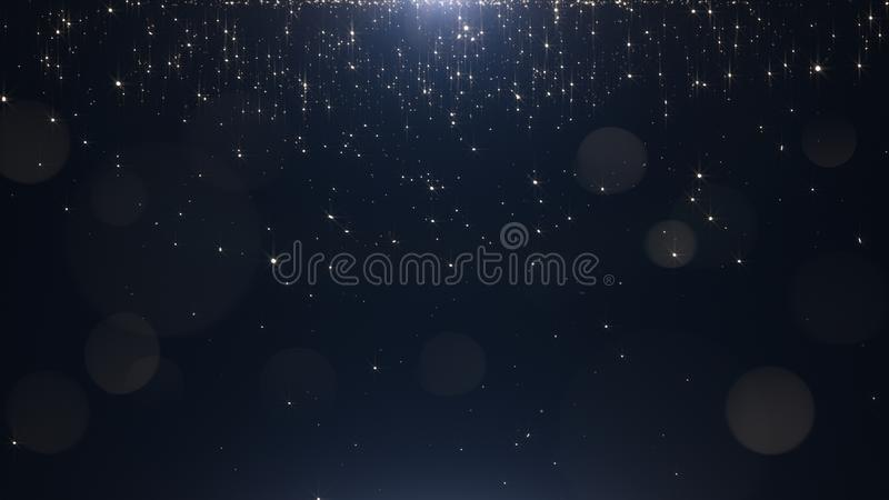 Betoverende gouden deeltjes op een zwarte achtergrond royalty-vrije stock afbeeldingen