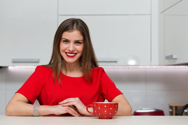 Betoverende huisvrouw bij haar keuken royalty-vrije stock foto