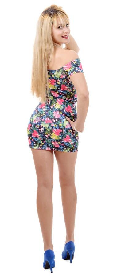 Betoverende jonge vrouw in korte kleding, achtermening royalty-vrije stock afbeeldingen