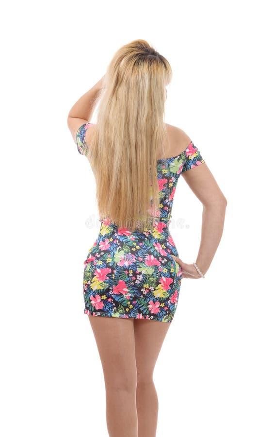 Betoverende jonge vrouw in korte kleding, achtermening royalty-vrije stock foto's