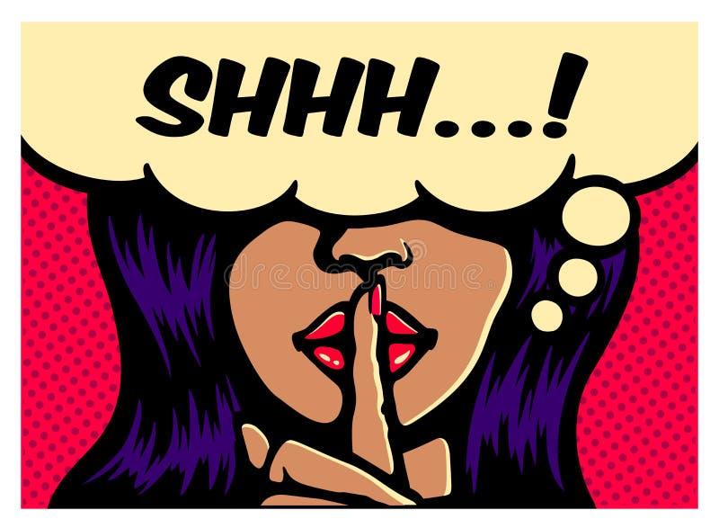 Betoverende vrouw die stiltegebaar met vinger op het pop-art vectorillustratie van het lippen grappige boek maken vector illustratie