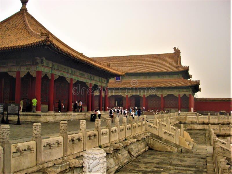 Betovering en geschiedenis in de Verboden Stad, Peking, China stock foto