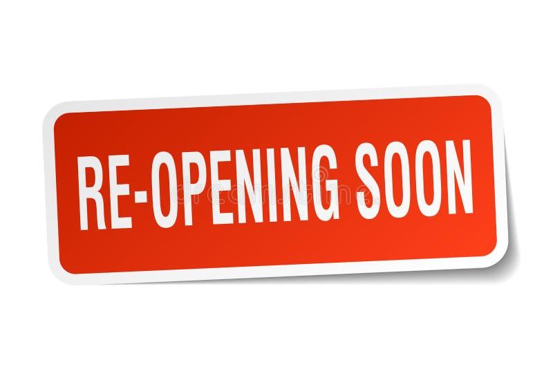 Beträffande-öppning snart klistermärke royaltyfri illustrationer