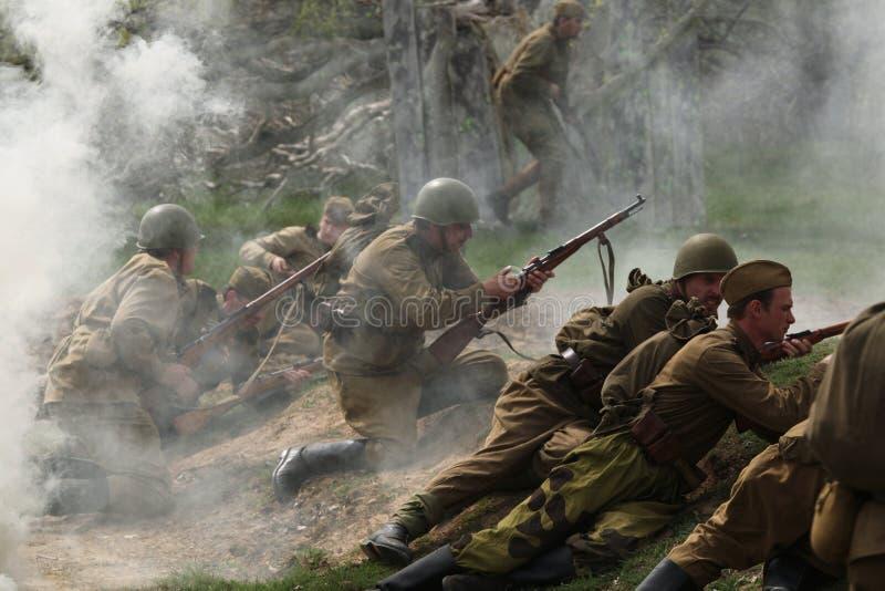 Beträffande-lag av WWII-striden på Orechov arkivbild