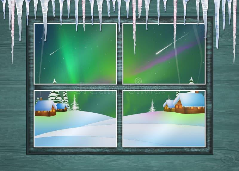 Betrachten Sie die Nordlichter vom Fenster stock abbildung