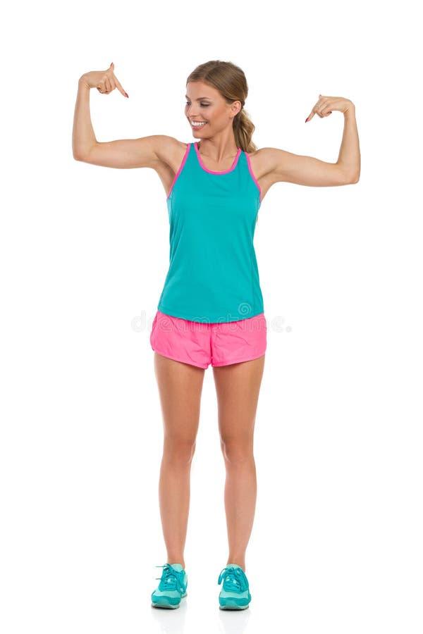 Betrachten Sie meine Muskeln lizenzfreie stockfotos