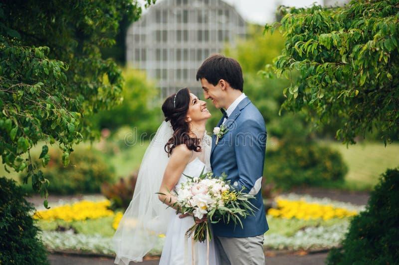 Betrachten Sie von oben genanntem den schönen Hochzeitspaaren, die im eveni küssen stockbild