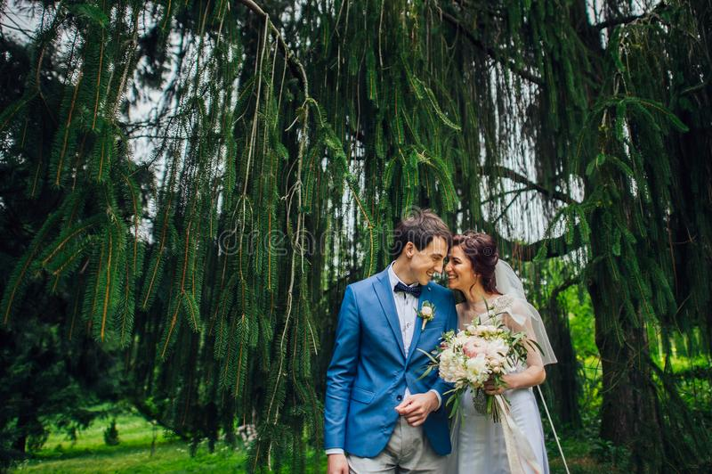 Betrachten Sie von oben genanntem den schönen Hochzeitspaaren, die im eveni küssen stockfotografie