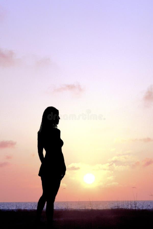 Download Betrachtungs-Sonnenuntergang Stockfoto - Bild von sonnenuntergang, dame: 40578