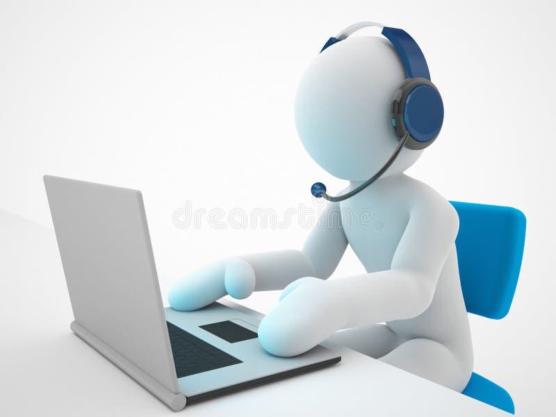Betreiber, der in einem Anruf arbeitet lizenzfreie abbildung
