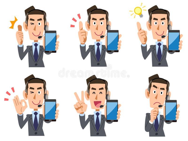 Betreiber männlicher Smartphonesatz Ausdrücke und Gesten lizenzfreie abbildung