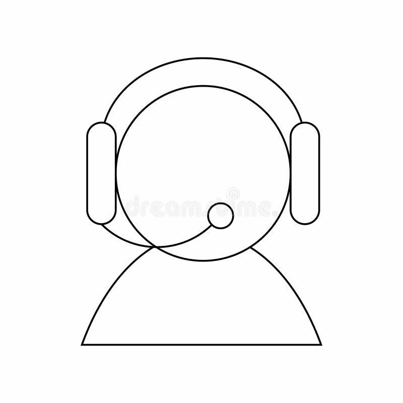 Betreiber mit Kopfhörerikone, dünne Linie Art stock abbildung