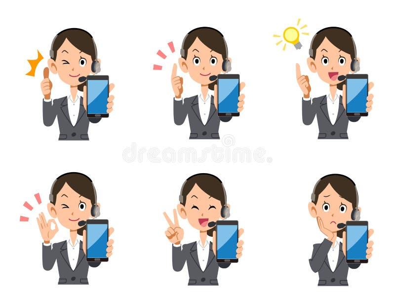 Betreiber weiblicher Smartphonesatz Ausdrücke und Gesten stock abbildung