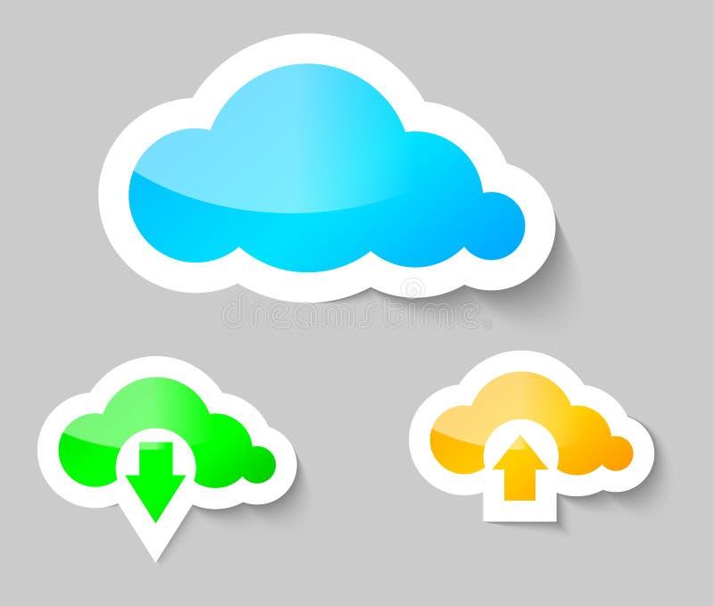 De wolk, download en uploadt van wolkenstickers stock illustratie