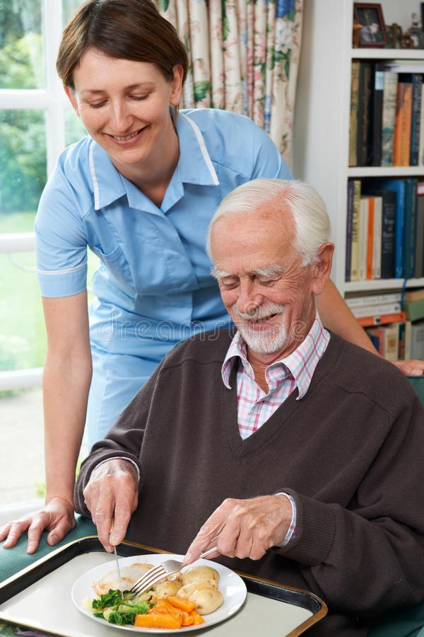 Betreuer-Umhüllungs-Mittagessen zum älteren Mann lizenzfreies stockfoto