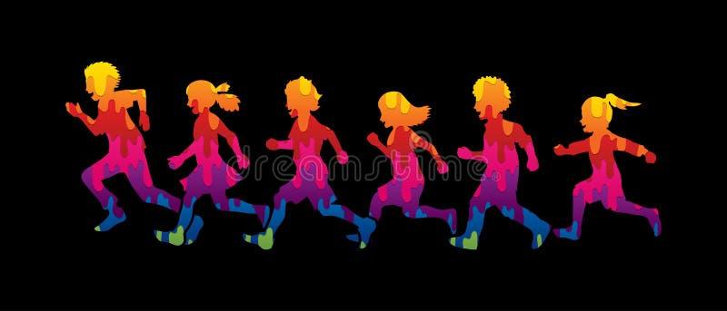 Betrieb des kleinen Jungen und des Mädchens, Gruppe Kinderdes laufens vektor abbildung