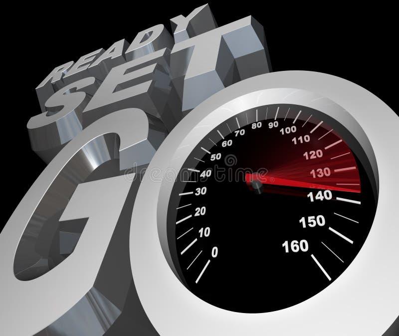 Betriebsbereites Set gehen der Geschwindigkeitsmesser, der Rennen-Konkurrenz beginnt lizenzfreie abbildung