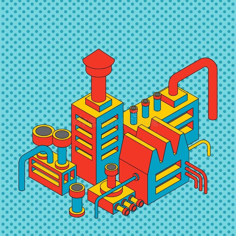 Betriebsindustrielles isometrisches Fabrik lokalisierte Pop-Arten-Art Vect lizenzfreie abbildung