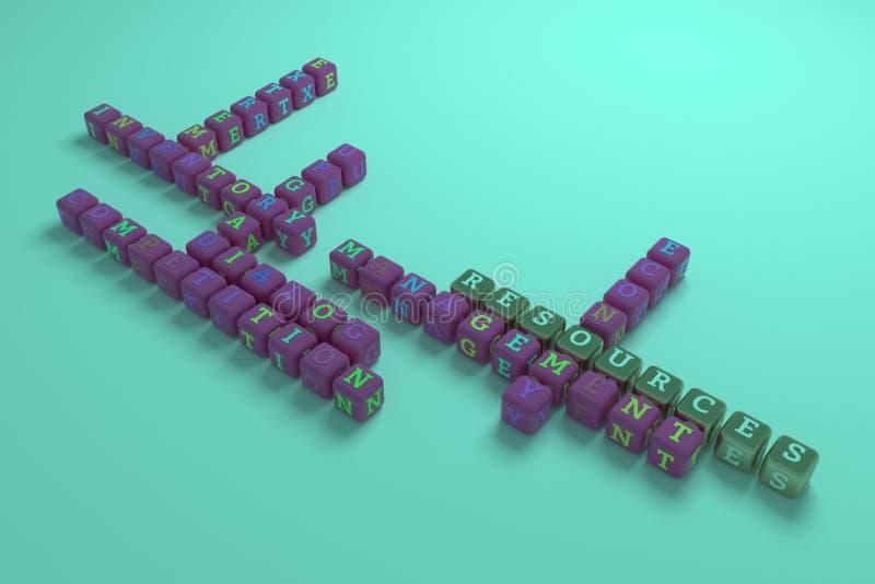 Betriebsmittel, Geschäftsschlüsselwortkreuzworträtsel F?r Webseite, Grafikdesign, Beschaffenheit oder Hintergrund stockfotografie