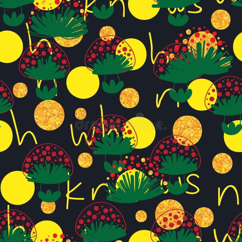 Betriebsoberteil, das nahtloses Muster des Pilzes kennt stock abbildung