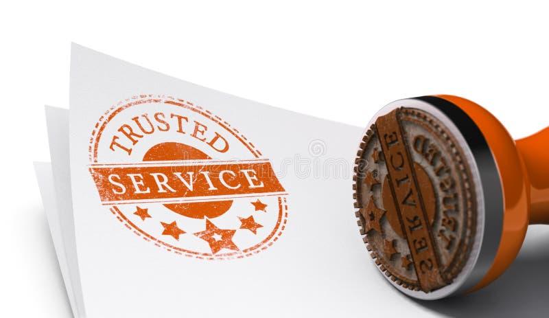 Betrodd service, garanterad tillfredsställelse royaltyfri illustrationer
