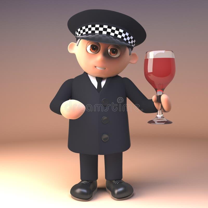 Betroffener Polizistpolizeibeamte in 3d die Alkoholgrenze, Illustration 3d überprüfend lizenzfreie abbildung