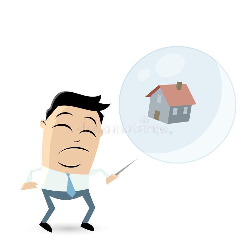 Betrokken zakenman met huis in soapbubble en een naald vector illustratie